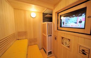 sauna with tv